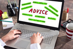 Advice concept on a laptop screen Royalty Free Stock Photography