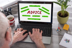 Advice concept on a laptop screen Stock Photo