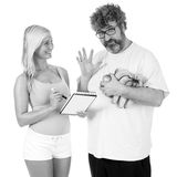 Advice on diet. Mid age men gets high five from personal trainer royalty free stock photos