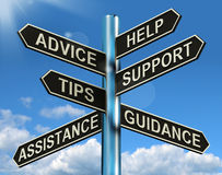 Advice Help Support And Tips Signpost stock illustration