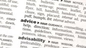 Advice highlighted in green stock footage