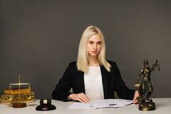 Justice scales, justice hammer and Litigation document, female lawyer working legal law with use laptop at lawyer office. Advice and justice concept. Justice royalty free stock photos