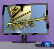 Advice Key On Computer Screen Showing Assistance Stock Images