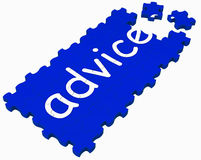 Advice Puzzle Shows Assistance And Stock Photo