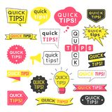 Advice, quick tips, helpful tricks and suggestions logos, emblems and banners isolated on white. Helpful idea, solution and trick illustration for books royalty free illustration