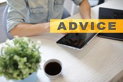 Advice text on virtual screen. Business technology and internet concept. Advice text on virtual screen. Business technology and internet concept Royalty Free Stock Photo