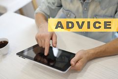 Advice text on virtual screen. Business technology and internet concept. Advice text on virtual screen. Business technology and internet concept Royalty Free Stock Images