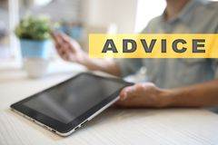 Advice text on virtual screen. Business technology and internet concept. Advice text on virtual screen. Business technology and internet concept Stock Photos