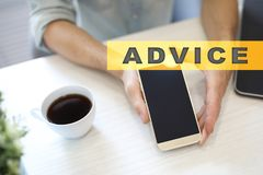 Advice text on virtual screen. Business technology and internet concept. Advice text on virtual screen. Business technology and internet concept Stock Image