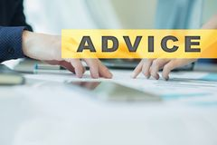Advice text on virtual screen. Business technology and internet concept. Advice text on virtual screen. Business technology and internet concept Royalty Free Stock Photography