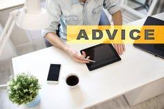Advice text on virtual screen. Business technology and internet concept. Advice text on virtual screen. Business technology and internet concept Royalty Free Stock Photos
