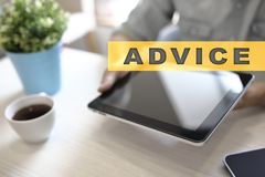 Advice text on virtual screen. Business technology and internet concept. Advice text on virtual screen. Business technology and internet concept Royalty Free Stock Image