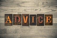 Advice Wooden Letterpress Theme Stock Photo