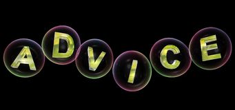 The advice word in bubble. The advice word in soap bubble on black background,3d rendered Stock Photography