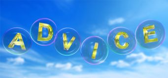 The advice word in bubble. The advice word in soap bubble on blue sky background,3d rendered Stock Photography