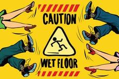 Advierta el piso mojado, los pies de mujeres y a los hombres stock de ilustración