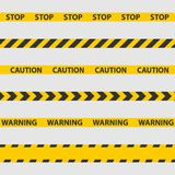 Advierta la cinta, la línea de policía y las cintas del peligro ilustración del vector