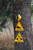 Advierta las muestras fijadas en una advertencia del árbol del peligro de la avalancha Foto de archivo