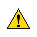 Advirtiendo, icono amarillo de la muestra del triángulo de la atención, aislado en el fondo blanco fotos de archivo