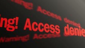 Advirtiendo, tenga acceso al texto rojo negado que corre en la exhibición Sistema de control biométrico stock de ilustración