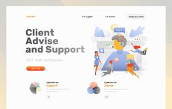 Advise and Support Web Banner. Vector web page template of client advise and support. Big screen with a man in headphones surrounded by tiny customers vector illustration