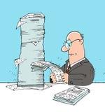 Advisor. Man in glasses big checks pile of documents Royalty Free Stock Image