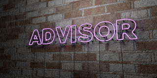 ADVISOR - Glowing Neon Sign on stonework wall - 3D rendered royalty free stock illustration Stock Photos