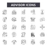 Advisor kreskowe ikony Editable uderzenie znaki Pojęcie ikony: spotykający, pieniężny konsultant, inwestycja, biznesmen, biuro ilustracji