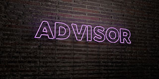 ADVISOR -Realistic Neon Sign on Brick Wall background - 3D rendered royalty free stock image Royalty Free Stock Photos