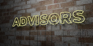 ADVISORS - Glowing Neon Sign on stonework wall - 3D rendered royalty free stock illustration Royalty Free Stock Photos