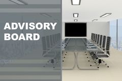 ADVISORY BOARD concept. 3D illustration of ADVISORY BOARD title on a glass compartment Stock Image