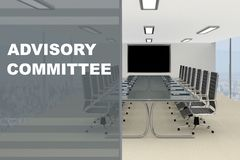 Advisory Committee concept. 3D illustration of CADVISORY COMMITTEE title on a glass compartment Royalty Free Stock Photography
