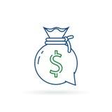 Advisory financiero, consultoría de negocios, ayuda de la inversión, dirección de las finanzas, bolso del dinero, mono línea icon stock de ilustración