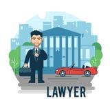 Advocaat bij het gerechtsgebouw Stock Foto