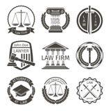 Advocaat en het embleem van het wetsbureau, de vector van embleemetiketten Royalty-vrije Stock Afbeelding