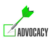 Advocacy check dart sign concept illustration Stock Photo