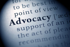 Advocacy. Fake Dictionary, Dictionary definition of the word Advocacy. including key descriptive words stock images