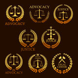 Advocacy or lawyer vector gold heraldic icons Royalty Free Stock Images