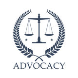 Advocacy legal center vector icon justice scales. Legal center or advocacy juridical icon or emblem for advocate or attorney office. Scales of Justice and Royalty Free Stock Images