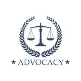 Advocacy Scales of Justice vector icon or emblem stock illustration