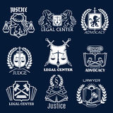 Advocacy vector icons set for legal justice lawyer Stock Photography