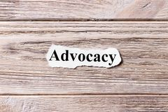 Advocacy of the word on paper. concept. Words of advocacy on a wooden background.  stock photo