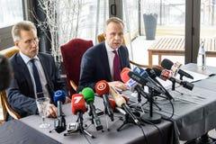Advocate Saulvedis Varpins left and Ilmars Rimsevics right. 20.02.2018. RIGA,LATVIA. Press conference of Ilmars Rimsevics, Governor of Central Bank of Latvia Stock Images
