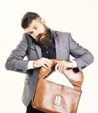 Advocate with worried face, smartphone and briefcase isolated on white background. Law, advocacy, stress, technology. Business concept. Lawyer with beard talks royalty free stock photo