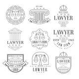 Advocatenkantoor en Advocaat de Pijlers van Office Logo Templates With Classic Ionic, Frontons en Saldosilhouetten stock illustratie
