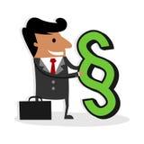 Advogado internacional - o homem de negócio guarda um sinal da lei do parágrafo Fotografia de Stock Royalty Free