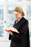 Advogado no escritório com leitura do livro de lei pela janela Foto de Stock Royalty Free