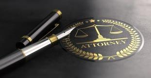 Advogado no símbolo da lei sobre o fundo preto ilustração royalty free
