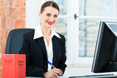Advogado no escritório que faz anotações em um arquivo Fotografia de Stock Royalty Free