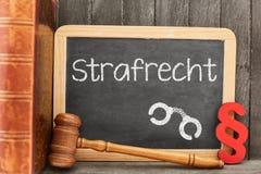 Advogado para o conceito da lei criminal no quadro-negro imagens de stock royalty free